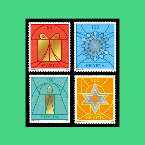 Four-Swiss-Christmas-stamp-illustrates-grandeur-of-the-Church-Window