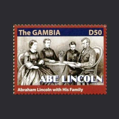 The-Gambia-issued-Stamp-on-Abraham-Lincoln