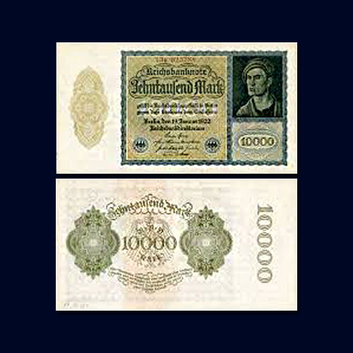 German-Papiermark:-10,000-Mark-banknote-of-1922