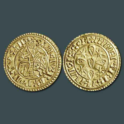 Gold-coin-with-the-effigy-of-Sancho-I