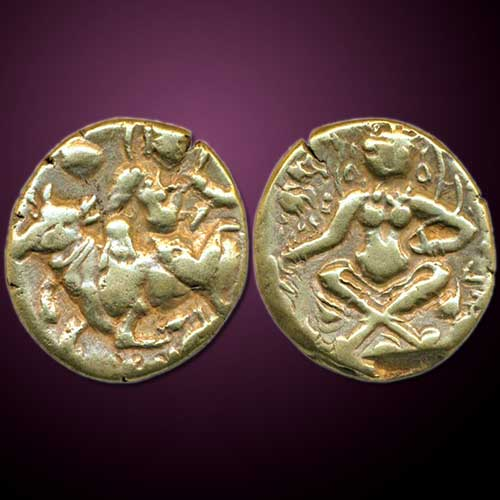 Gold-Dinar-of-Sasanka,-King-of-Gauda