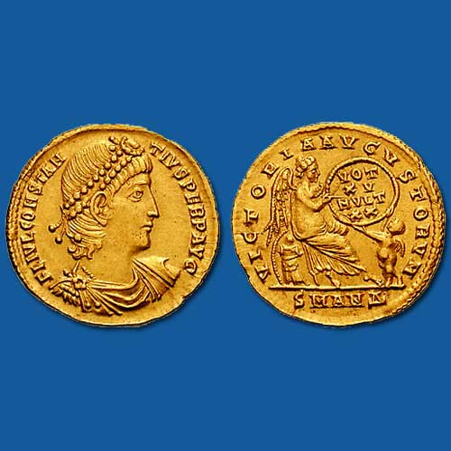 Gold-solidus-of-Constantius-II,-celebrating-the-15th-year-of-his-reign