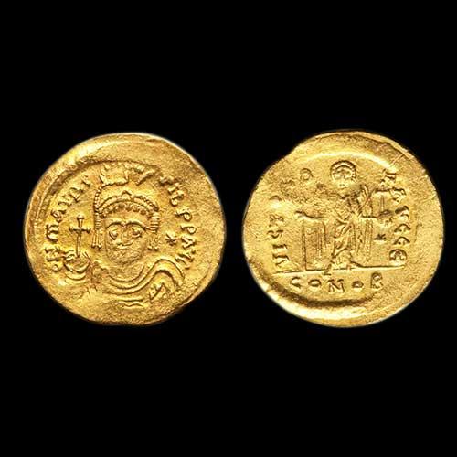 Gold-Solidus-of-Maurice-Tiberius-