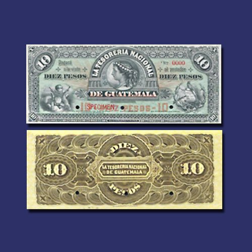 GUATEMALA-10-PESOS-banknote-from-1882