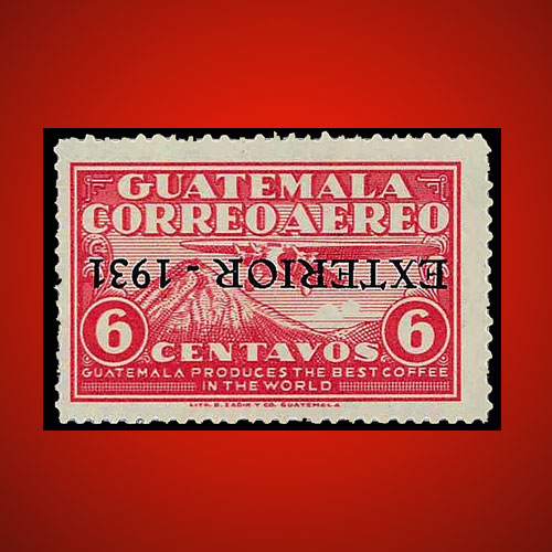 Guatemala-Airmail-Stamp-with-Inverted-Overprint