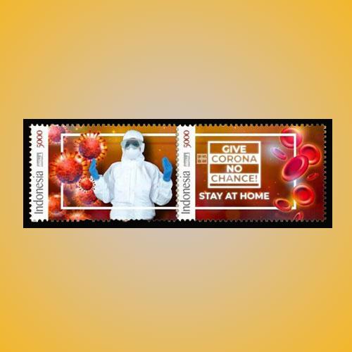 Indonesia's-Se-tenant-Stamp-Pair-Featuring-Coronavirus