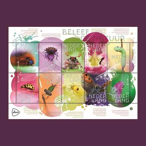 Insect-on-colourful-stamps