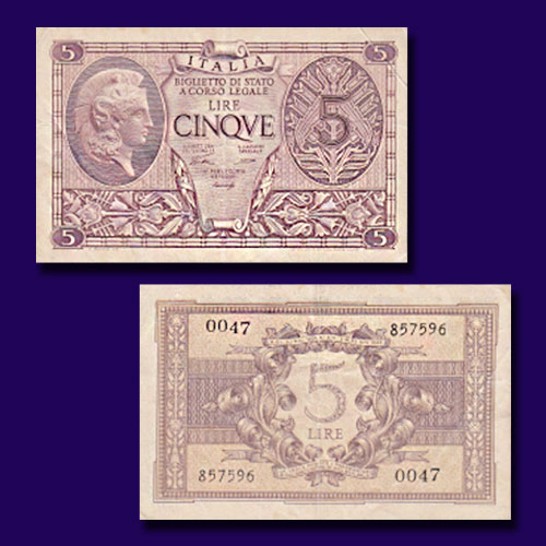 Italy-5-Lire-banknote-of-1944