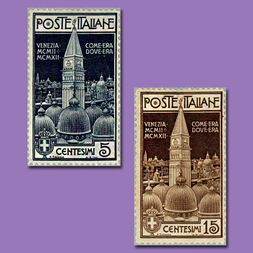 Italy's-Campanile-Commemorative-Stamps