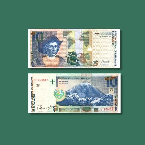 Izalco-Volcano-Mountain-on-10-Colon-Banknotes-of-El-Salvador