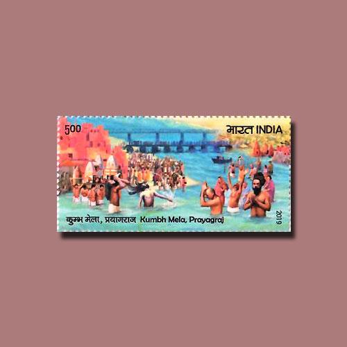 Kumbh-Mela-of-Prayagraj-on-Indian-Stamp