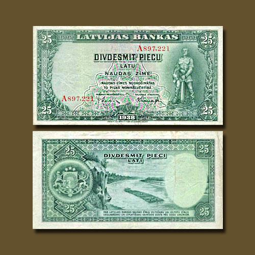 Latvia-25-Latu-banknote-of-1938