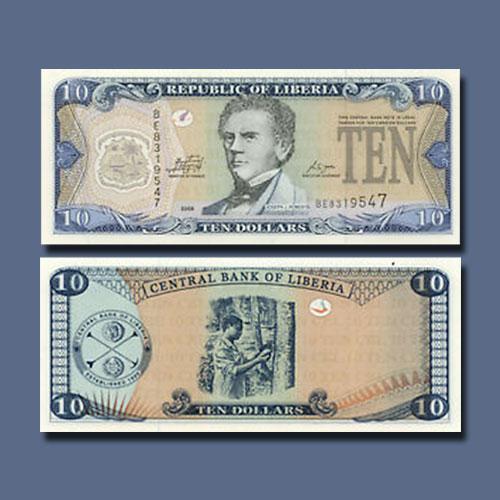 Liberia-10-Dollars-banknote-of-1999-2011