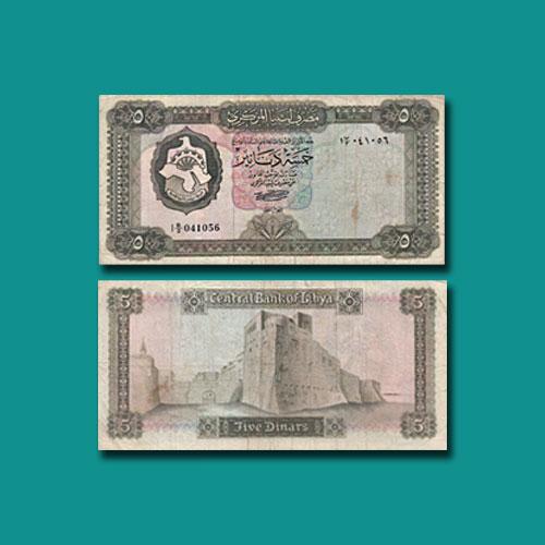 Libya-5-Dinars-banknote-of-1971-1972