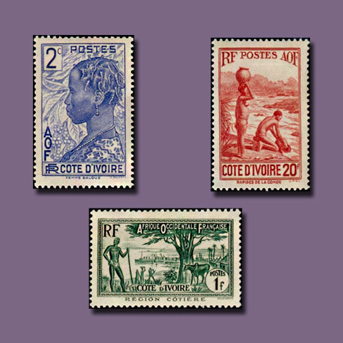 Life-of-Ivory-Coast-Depicted-on-1936-Philately-Issues