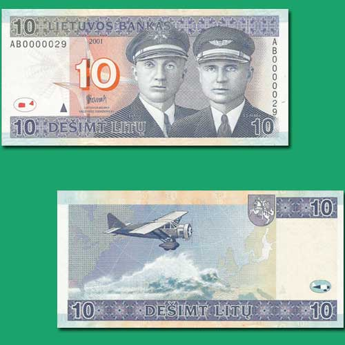 Lithuanian-Bank-Note-With-an-Aviation-Theme