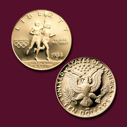 Los-Angeles-Olympiad-Runners-Gold-10-Dollar