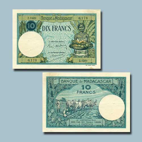 Madagascar-10-Francs-banknote-of-1937-47