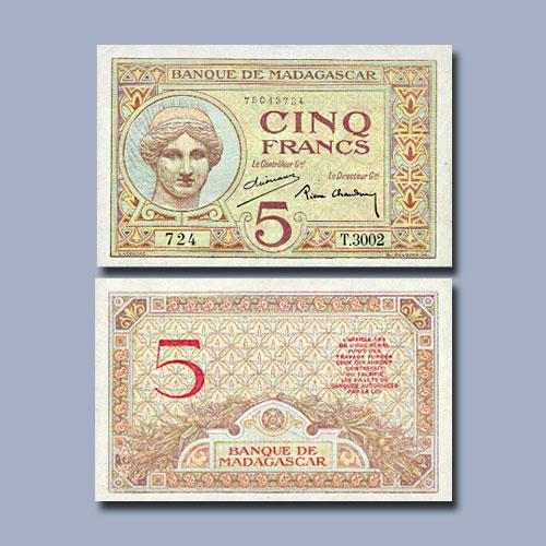 Madagascar-5-Francs-banknote-of-1937
