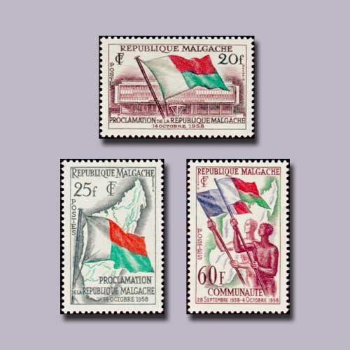 Madagascar-Stamps-Commemorating-Proclamation-of-Republic