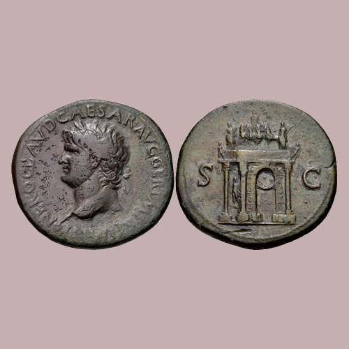 Monuments-on-Roman-coin-part-6:-Arch-of-Nero