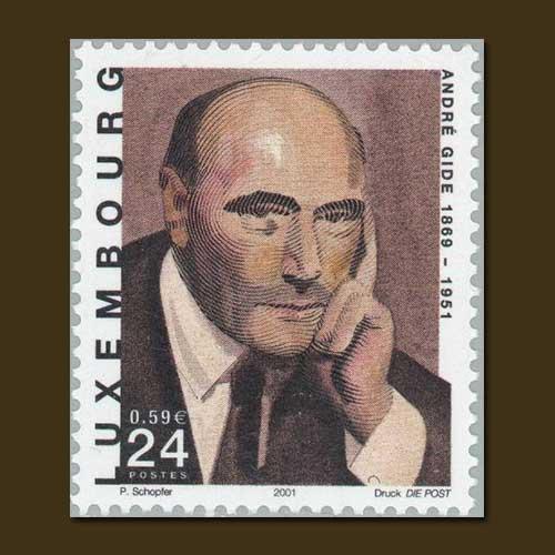 Nobel-Laureate-Andre-Gide-honoured-on-Luxembourg-stamp