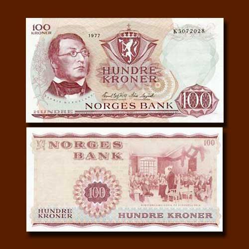 Norway-100-Kroner-banknote-of-1968