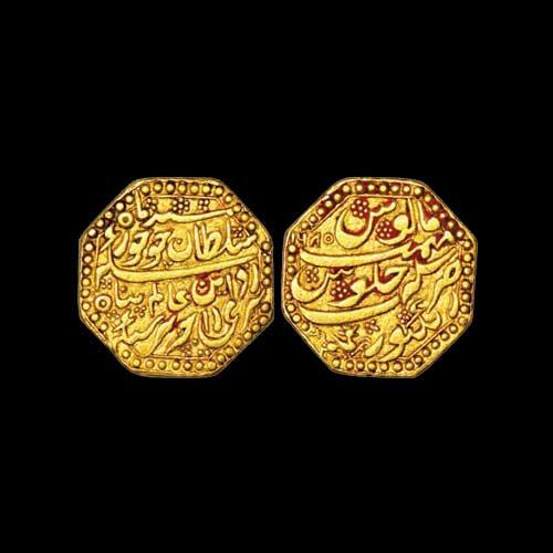 Octagonal-gold-Mohur-of-Rajesvara-Simha