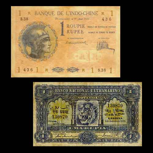 One-Rupee-Notes-of-Indo-French-and-Indo-Portuguese