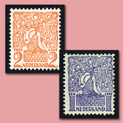 """Orange-Tree-and-Brabant-Lion""-Stamps-of-Netherlands"