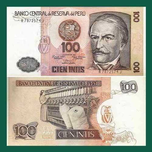 Peru-100-Intis-Banknote-1985