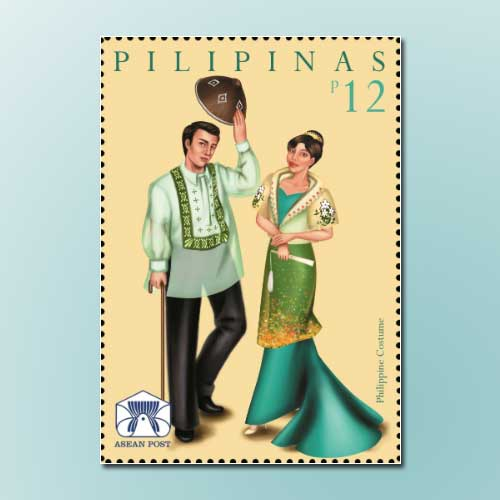 Philippine-National-costume-on-stamp