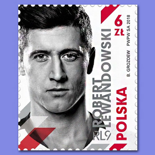 Polish-footballer-Robert-Lewandowski-featured-on-stamp