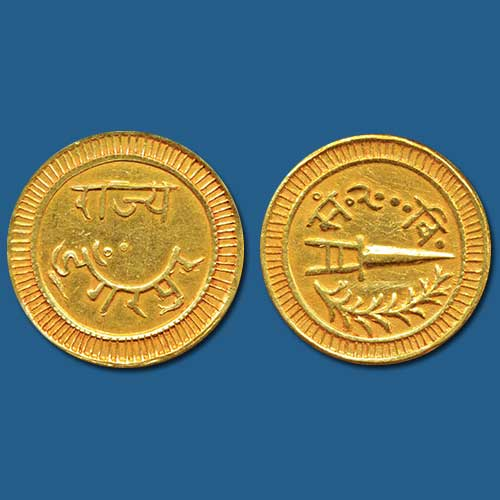Princely-States-Dungarpur-Gold-NazaranaMohur-Sold-For-INR-2,45,000