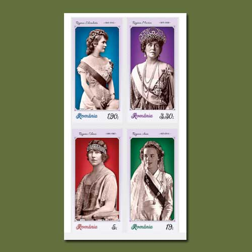 Queens-attire-feature-on-Romanian-stamp