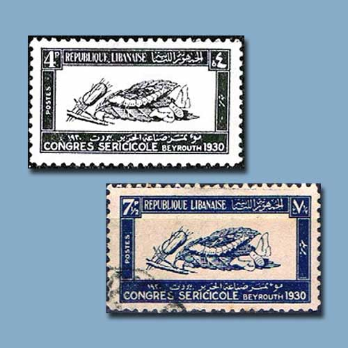 Silk-Congress-of-Beirut-Postage-Stamps