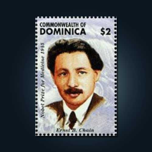 Sir-Ernst-Boris-Chain-honored-on-Dominica-Stamp
