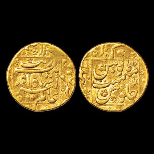 Square-area-type-gold-Mohur-of-Aurangzeb