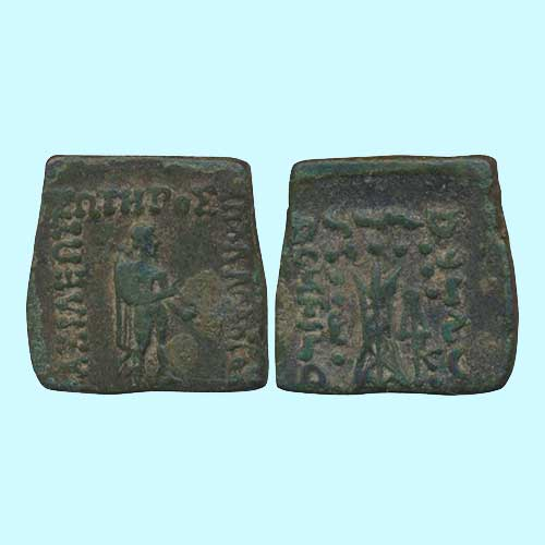 Square-Copper-Coin-of-Indo-Greek-King-Hippostratos