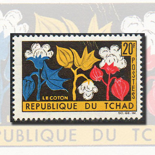 Stamp-of-Chad-Featuring-Cotton-Plant