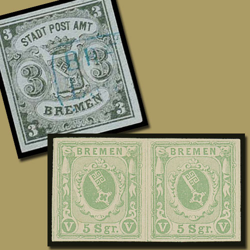 Stamps-of-German-State-of-Bremen
