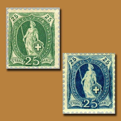 Standing-Helvetia-Issue-of-Switzerland