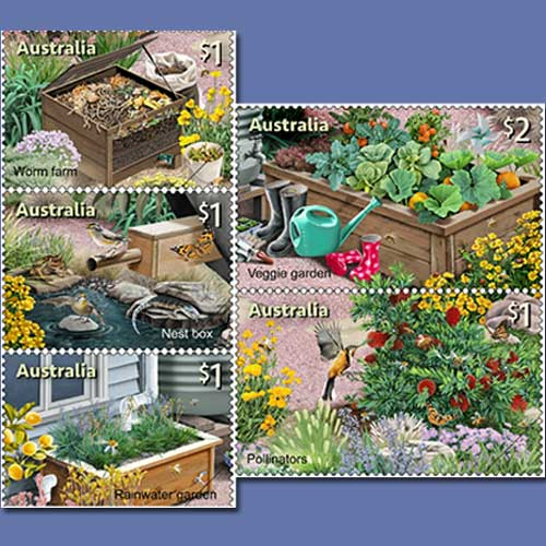 Sustainable-Gardening-depicted-on-a-stamp