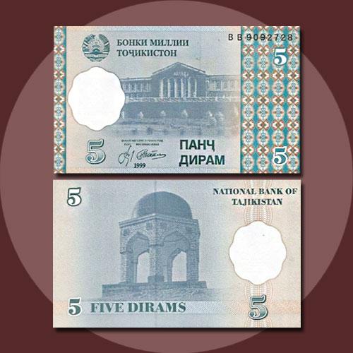 Tajikistan-5-Diram-banknote-of-1999