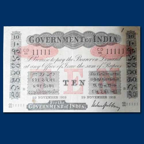 Ten-rupee-banknote-issued-in-1918-completed-hundred-years-today...