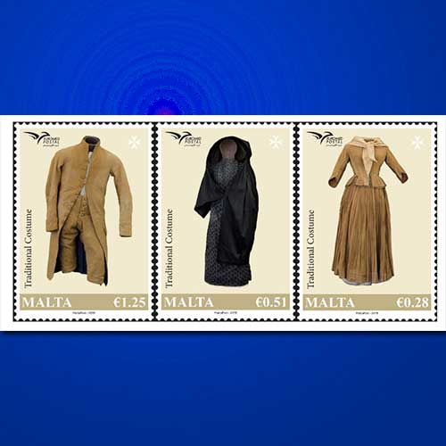 Traditional-costumes-illustrated-on-Malta-stamp