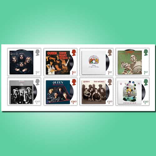 Tribute-to-Queen-Album's-on-stamp