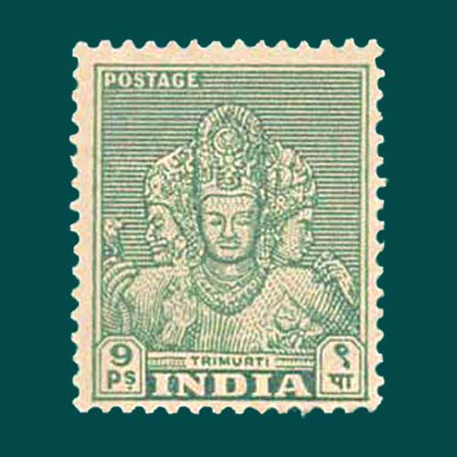 Trimurti-on-Indian-stamp