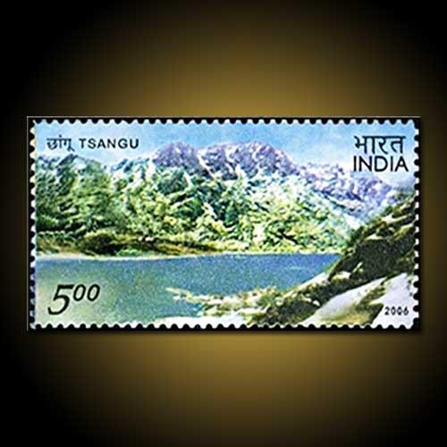 Tsangu-Lake-of-Sikkim-on-Indian-Stamp
