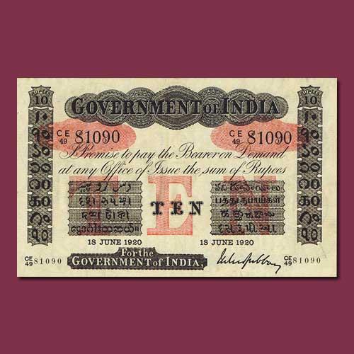Uniface-10-rupee-banknote-of-British-India